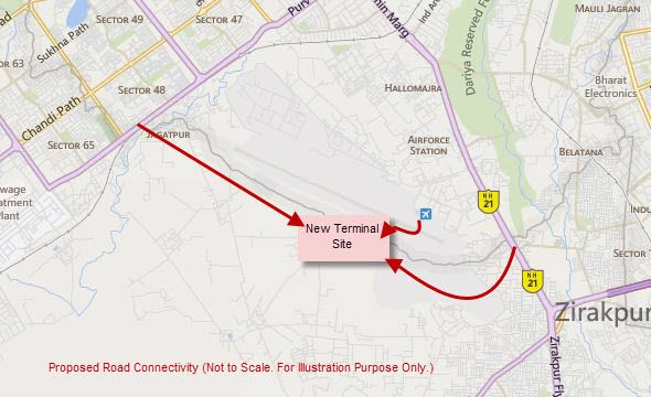 chandigarh airport location map Road Connectivity With International Airport Coming Up At Mohali chandigarh airport location map